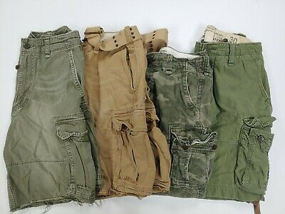 $130 • Buy 4 Lot Vtg Abercrombie And Fitch Cargo Shorts 30 31 32 Camo Heavy Duty Military