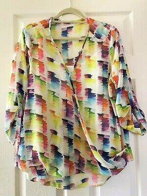 £1.99 • Buy Bright Multi Coloured Sheer Crossover Print Blouse With Camisole Size 18