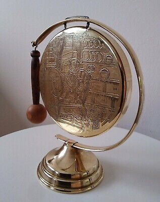 £17 • Buy Stunning Small Vintage Brass Dinner Gong On Stand,with Hammer,hotel,reception
