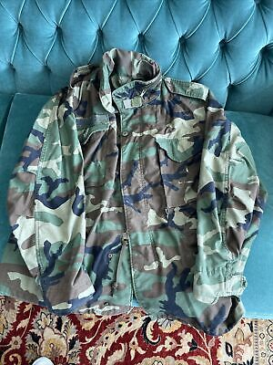 $35 • Buy Military Issue GoreTex Woodland Camo Cold Weather Hooded Parka Alpha Industries