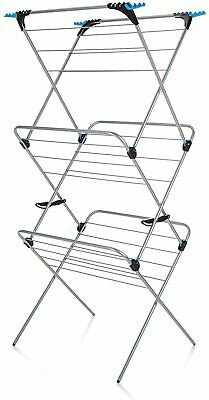 £31.99 • Buy 3 Tier Plus Indoor Airer 21 Drying Space Silver Easy Storage Folds Flat Alloy