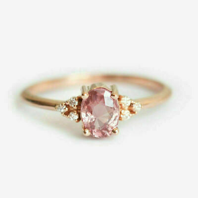 AU2.64 • Buy Fashion Oval Cut Pink Sapphire Jewelry Women 925 Silver Rings Gifts Size 6-10