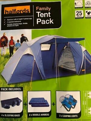 £130 • Buy Halfords Family Tent Pack 4 Berth Incl 4 Sleep Bags 2 Double Airbeds And 2 Light