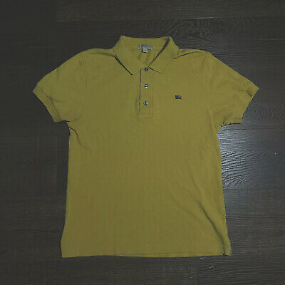 $35 • Buy Burberry Polo T-Shirt Size S Slim Fit Yellow Collared Shirt Mens