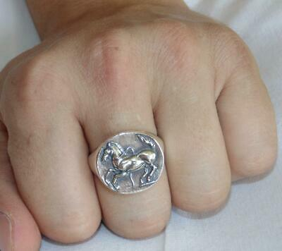 $94.99 • Buy 925 Heavy Mens Signet Sterling Silver Ancient Thrace Horse Greek Coin Ring Sz 11