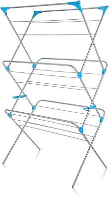 £45.99 • Buy Extra Wide 3 Tier Airer, Metal, Silver, Clothes Drying Indoor Laundry Dryer Rack