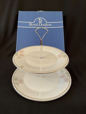£18.50 • Buy Royal Doulton Twilight Rose 2 Tier Cake Stand (Dinner Salad Plate)~ Boxed