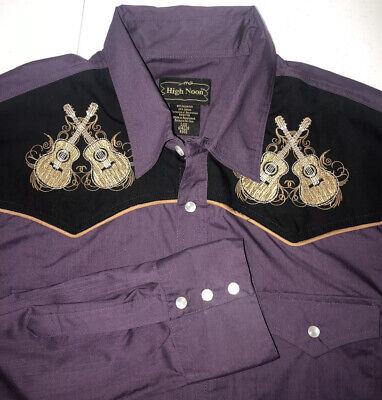 $29 • Buy RARE High Noon Western Pearl Snap Shirt With Guitars Men's Large Purple LIT!