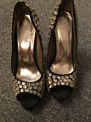 £2.50 • Buy  Black Court Shoes Covered In Silver Diamonds Size 4 By LYDC