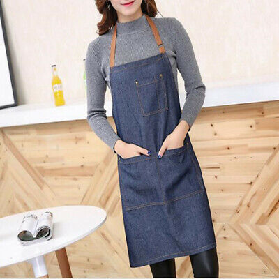 $8.50 • Buy Last One Men&Women Long Apron With Pocket Bib Apron Kitchen Cooking Chef Craft