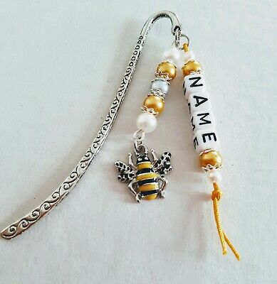 £3.99 • Buy  Personalised Bumble Bee Bookmark T/Silver Enamel Charm Present  W/Gift Bag