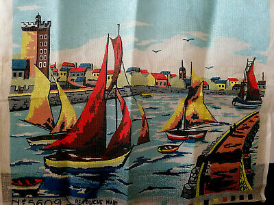 $7.30 • Buy Large Embroidery Canvas -Retouche Main Creations ''Roxane''- SAIL BOATS