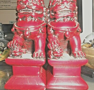 £40 • Buy Vintage Chinese Foo Dog / Temple Lion  Book End Pair