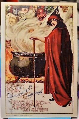 $ CDN1.87 • Buy HALLOWEEN WITCHES CAULDRON POTION Spells GHOSTS & GOBLINS Repro Vintage Postcard