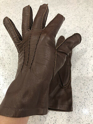£5 • Buy Brown Kid Leather Gloves Size M