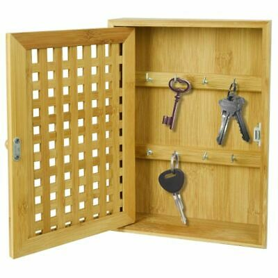£12.99 • Buy Bamboo Key Rack Box Storage Cabinet Brackets Wooden Wall Mounted Porch Cupboard