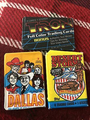 £2.99 • Buy VINTAGE WAX TRADE GUM CARD PACKS X3: Dallas, Desert Storm And Tron.