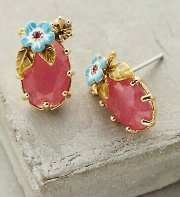 $ CDN73.98 • Buy Les Nereides Earrings Floriant Anthropologie NEW TAGS Red Stone Flowers Floral