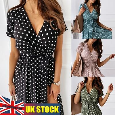 £13.67 • Buy Womens Summer Casual Polka Dot Maxi Long Split Wrap Dress Holiday Party Cocktail