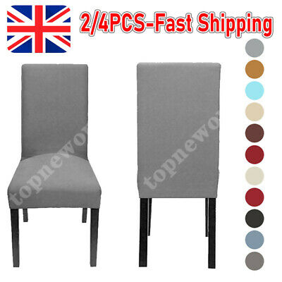 £5.28 • Buy 1/4PCS Dining Chair Seat Covers Slip Stretch Wedding Banquet Party Removable-UK