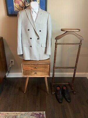 $28 • Buy 42 R Mens Double Breasted Blazer Gray 6 Button Indochino