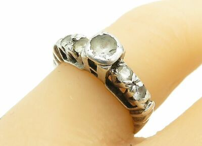 £0.01 • Buy 925 Sterling Silver - Round Cut White Topaz Band Ring Sz 6 - R13143