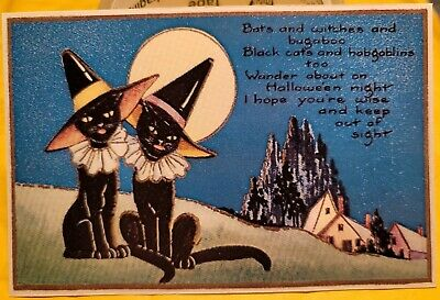 $ CDN1.87 • Buy HALLOWEEN Dressed Black Cats With WITCH HATS Full Moon Repro Vintage Postcard