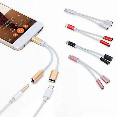 £2.99 • Buy USB Type C To 3.5mm AUX Audio Adapter Dual Splitter Headphone Jack For Android