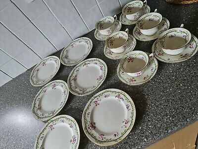 £49.90 • Buy Aynsley Vintage English 18 Pieces Tea Cup Saucer Plate Trio Set Pink Flowers