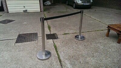 £18 • Buy 2 Chrome Plated Retractable Strap Crowd Control Que Barrier Posts