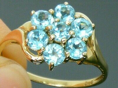 £89 • Buy 9ct Gold Beautiful Blue Topaz Hallmarked Cluster Ring Size T
