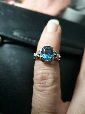 £23.30 • Buy 9ct Gold Blue Topaz Ring Hall Marked