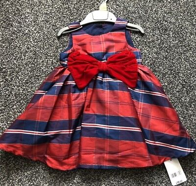 £9.99 • Buy NEW Mothercare Navy Red Tartan Party Dress Baby Girl 3-6 Month Wedding Christmas
