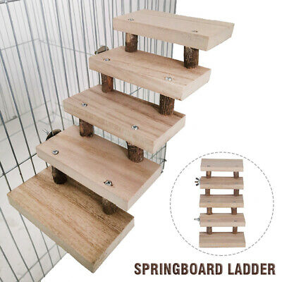 £7.55 • Buy 5 Layer Wooden Hamster Ladder Parrots Cage Climbing Stairs Perches Stand Toy UK