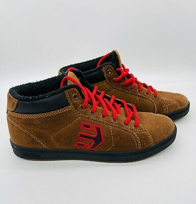£25 • Buy Tan Brown, Red And Black Etnies Suede Skate Shoes Excellent Cond 38 4.5