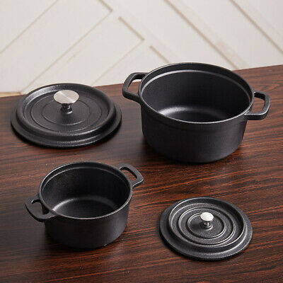 £24.95 • Buy Modern Kitchen Cast Iron Casserole Stew Soup Boiling Ovenproof Pot With Lid