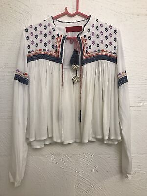 AU49 • Buy Tigerlily Sauteurs White Multi Shell/leather Embroidered Jacket 10