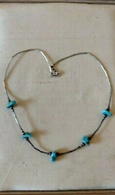 £16 • Buy Vtg Native American Sterling Liquid Silver & Turqouise Nugget Choker Necklace