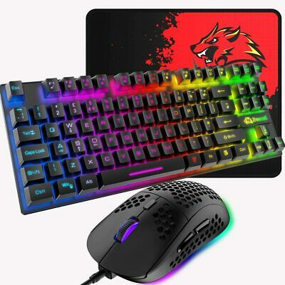 AU41.35 • Buy Wired Gaming Keyboard And Mouse Set 88Keys LED Backlit 6400DPI For PC Laptop PS4