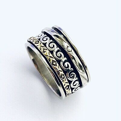 £18.50 • Buy 925 Sterling Silver Spinning Ring 2 Tone Silver & Gold Worry Stress Size P 1/2