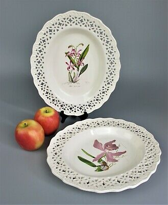 £14.99 • Buy 2 Vintage Leedsware Classical Creamware V&A Museum Pierced Platters Oval Plates