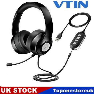 £16.29 • Buy VTIN USB 3.5mm Wired Computer Headset Headphones Mic For Call Center Skype PC