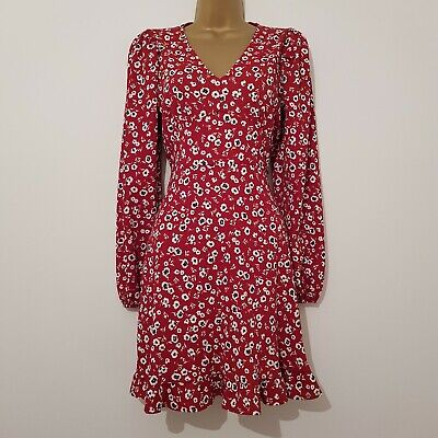 £14.99 • Buy NEW NEW LOOK 8-18 Red Ditsy Floral Print Long Sleeve Frill Fit Flared Tea Dress