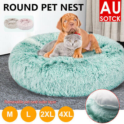 AU18.39 • Buy Dog Pet Cat Calming Bed Beds Large Mat Comfy Puppy Fluffy Donut Cushion Plush