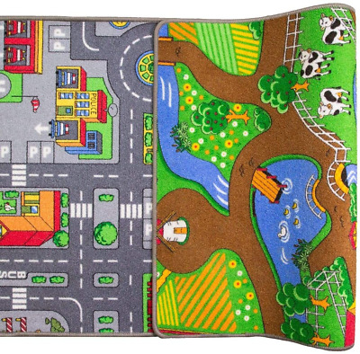 £34.82 • Buy Children's Double Sided Play Village Farm Mat Town City Car Roads Rug