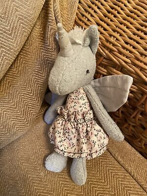 £10.99 • Buy Mamas And Papas Grey Unicorn Soft Plush Toy Comforter Floral Dress Rattle (a12)