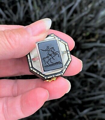 £129 • Buy Antique Intaglio STERLING SILVER Pinky Ring Horse Soldier Glass Tassie Promount