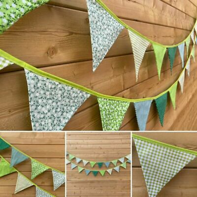£4.99 • Buy UK Floral Stripe Shabby Green Bunting Traditional Vintage Fabric Garden Decor