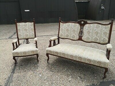 £245 • Buy Vintage Beautiful Two Seater Edwardian Victorian!! Style & Armchair Upholstered