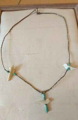 £22 • Buy Vintage Native American Sterling Silver Turqouise MOP Bird Choker Necklace